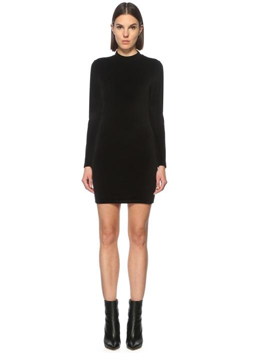 Sırt Dekolteli Siyah Mini Kadife Elbise
