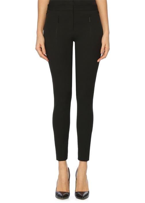 Siyah Cepleri Fermuarlı Skinny Pantolon