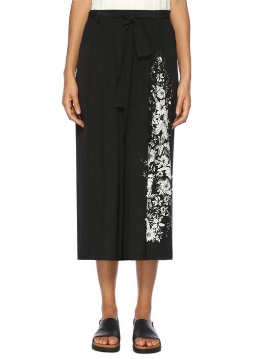 Siyah Çiçek Desenli Kısa Paça Pantolon