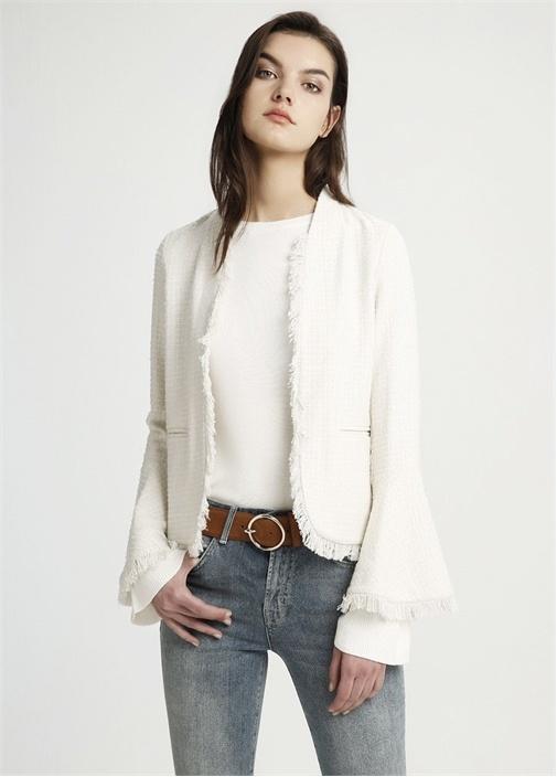 Beyaz Kolları Volanlı Kısa Ceket