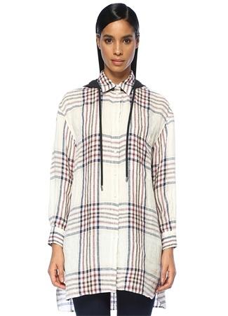 9962cb2e63bbe XS female Beyaz Beymen Club Kadın Kapüşonlu Ekoseli Keten Tunik Gömlek