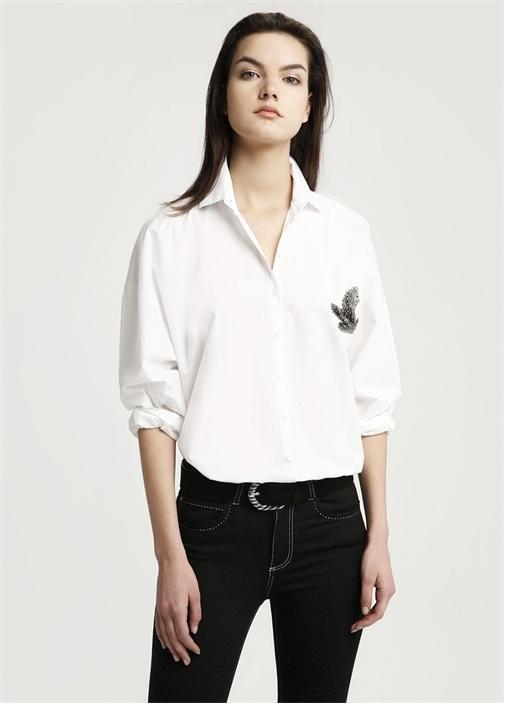 Beyaz Logo İşlemeli Poplin Casual Fit Gömlek