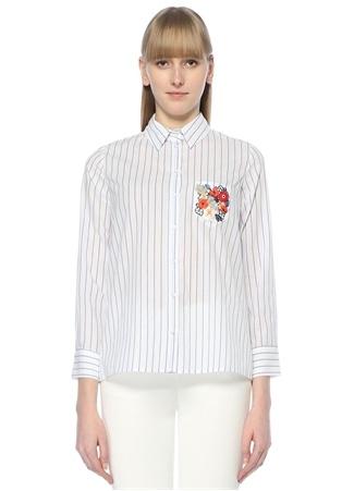 Beyaz Çizgili İşlemeli Cep Detaylı Gömlek