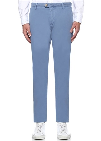012913577f615 Beymen Club Erkek Mavi Dokulu Slim Fit Chino Pantolon 54