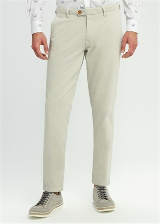 Regular Fit Ekru Dokulu Chino Pantolon
