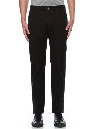 Siyah Keten Dokulu Slim Fit 5 Cepli Pantolon