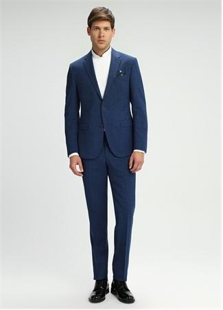 Lacivert Silik Kareli Takım Elbise
