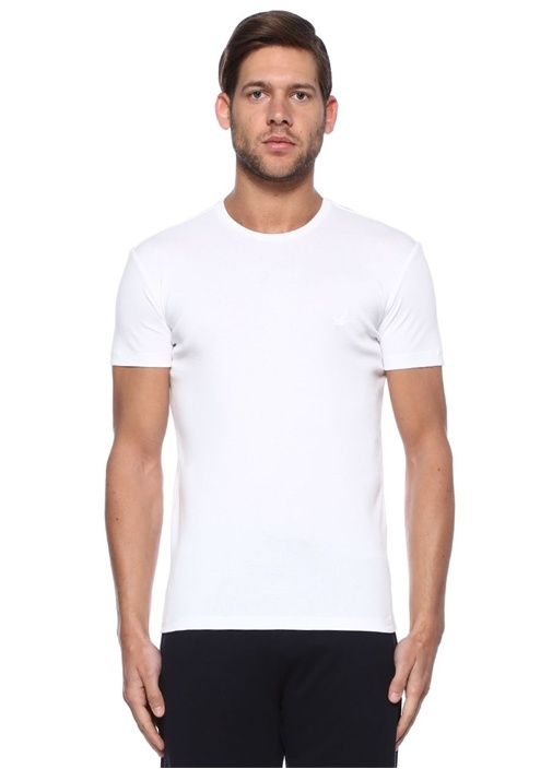 Beyaz 2'li Bisiklet Yaka Basic Tshirt