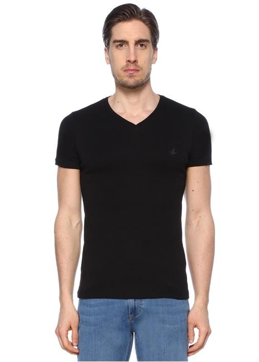 Siyah 2'li Bisiklet Yaka Basic Tshirt