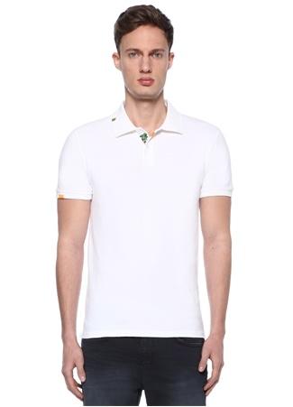 Slim Fit Beyaz Polo Yaka Palmiye Nakışlı T-shirt