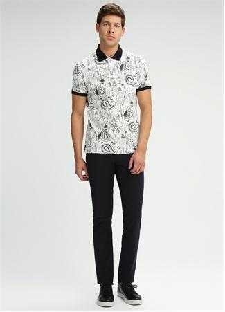Slim Fit Polo Yaka Beyaz Şal Desenli T-shirt