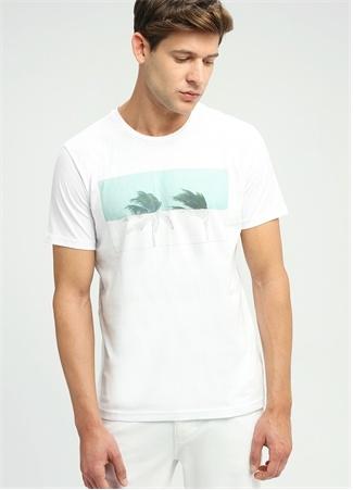 Beyaz Bisiklet Yaka Palmiye Baskılı Basic T-shirt