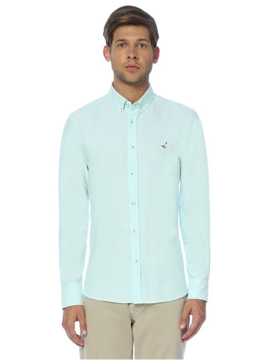 Yeşil Desenli Slim Fit Oxford Gömlek