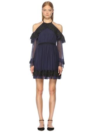 THREE FLOOR Omuz Dekolteli Siyah Lacivert Mini Kokteyl Elbise