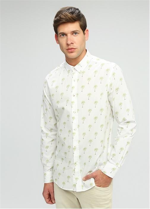 Slim Fit Oxford Yaka Palmiye Desenli Gömlek