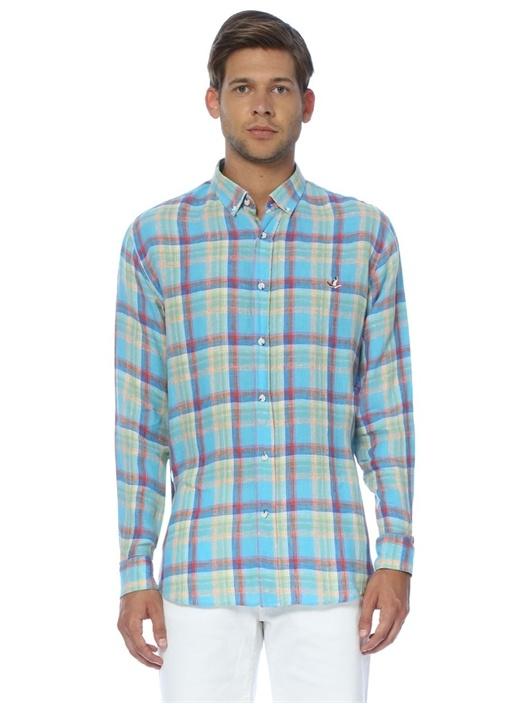 Mavi Keten Ekoseli Comfort Fit Gömlek