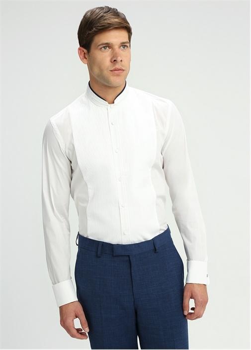 Beyaz Mao Yaka Pliseli Smokin Gömleği