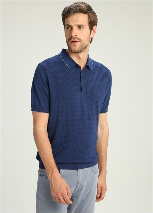 Mavi Polo Yaka Jakarlı Tshirt