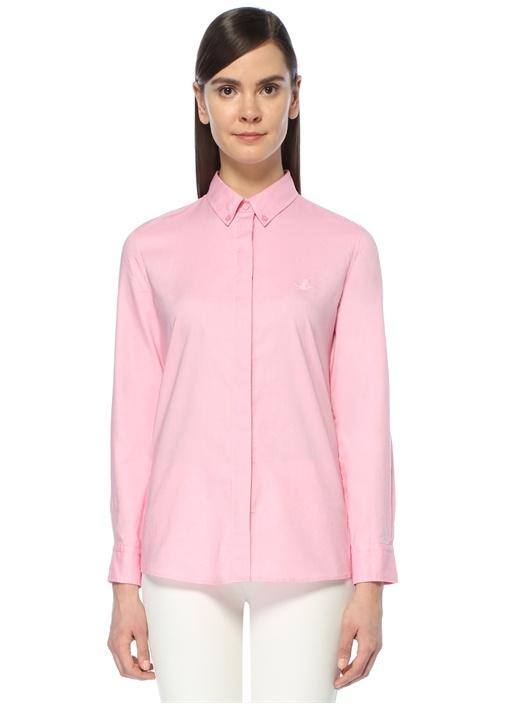 Pembe Logolu Oxford Gömlek