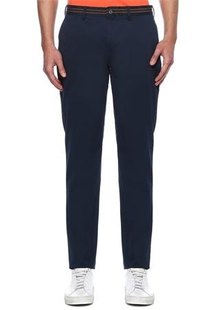 Slim Fit Lacivert Şerit Detaylı Chino Pantolon