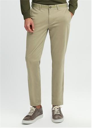 Slim Fit Bej Beli Şerit Detaylı Chino Pantolon