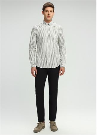Beyaz Balık Desenli Slim Fit Gömlek