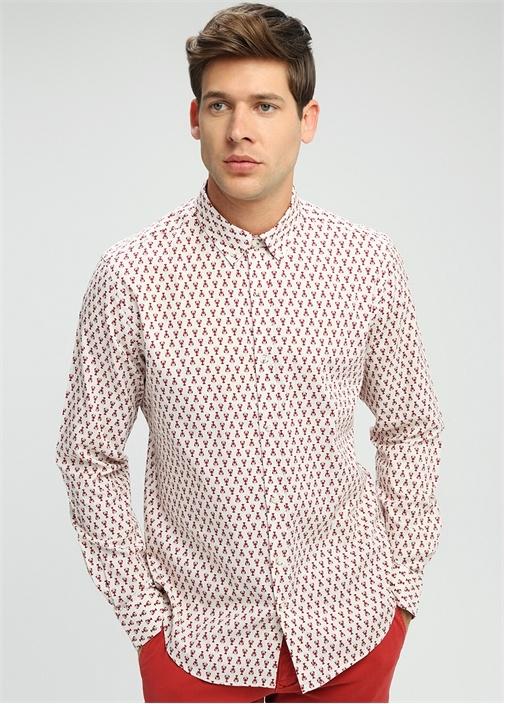 Comfort Fit Polo Yaka Düğmeli Desenli Gömlek