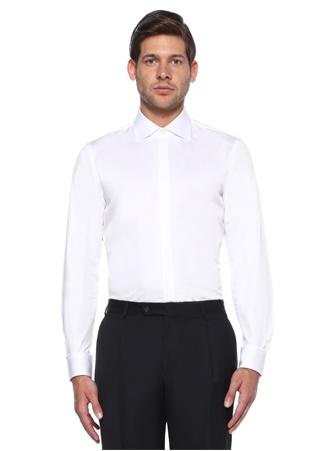 Beyaz Klasik Yaka Custom Fit Smokin Gömleği