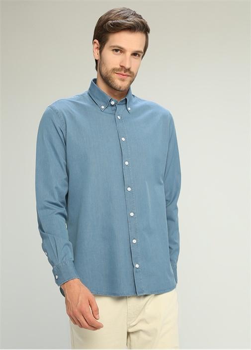 Comfort Fit Mavi Polo Yaka Düğme Kapatmalı Gömlek