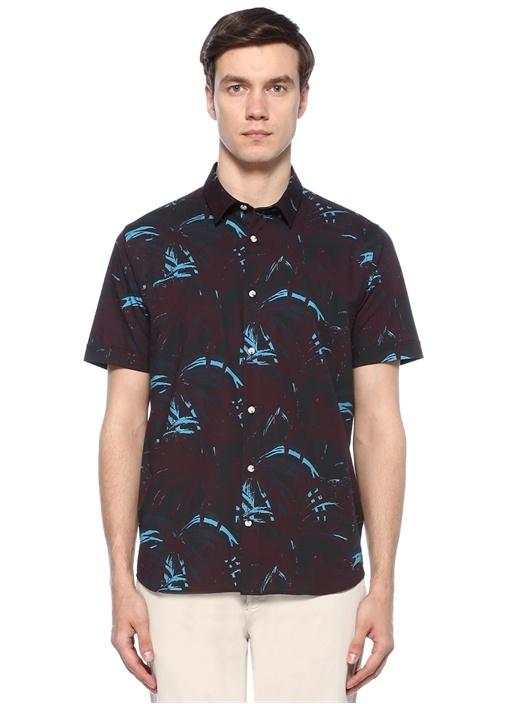 Custom Fit Bordo Tropikal Desenli Gömlek