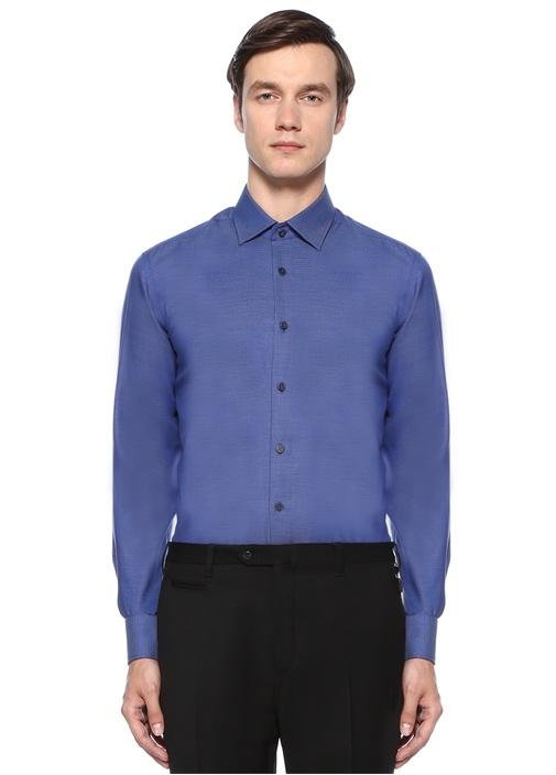 Comfort Fit Lacivert Armürlü Non Iron Gömlek