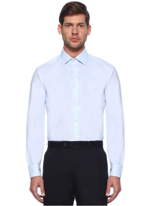 Comfort Fit Mavi Non Iron Klasik Oxford Gömlek