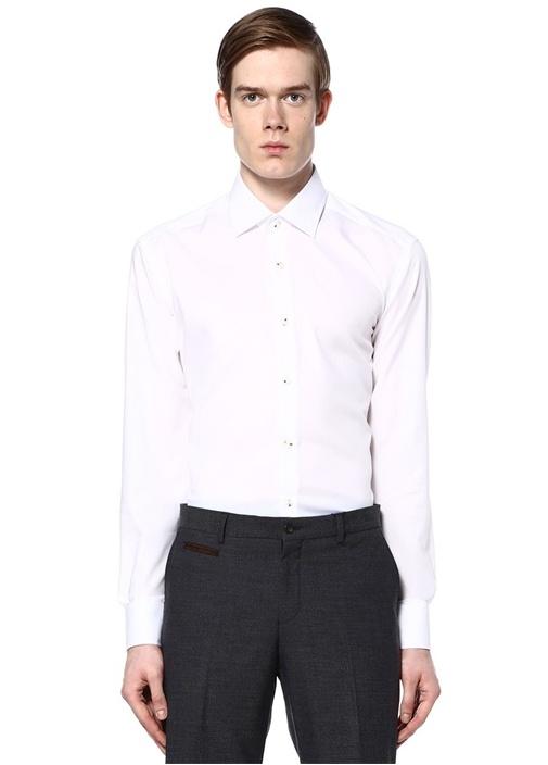 Beyaz Noniron Özellikli Comfort Fit Gömlek