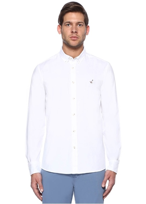 Beyaz Yıkamalı Slim Fit Oxford Gömlek
