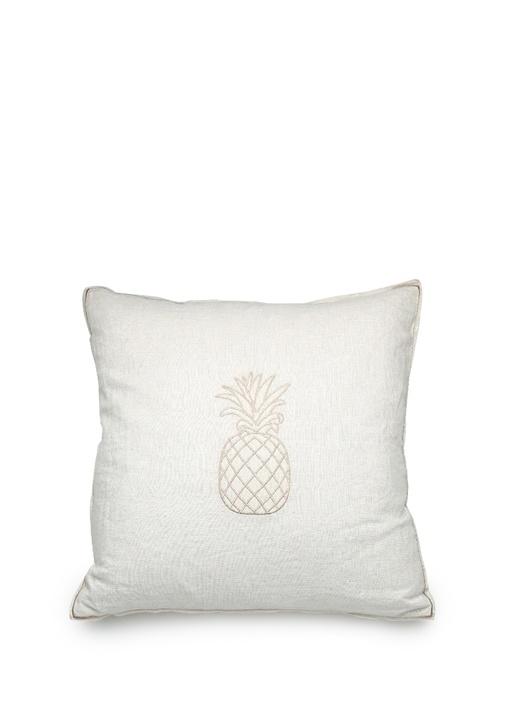 Ekru Ananas Baskılı Dekoratif Yastık