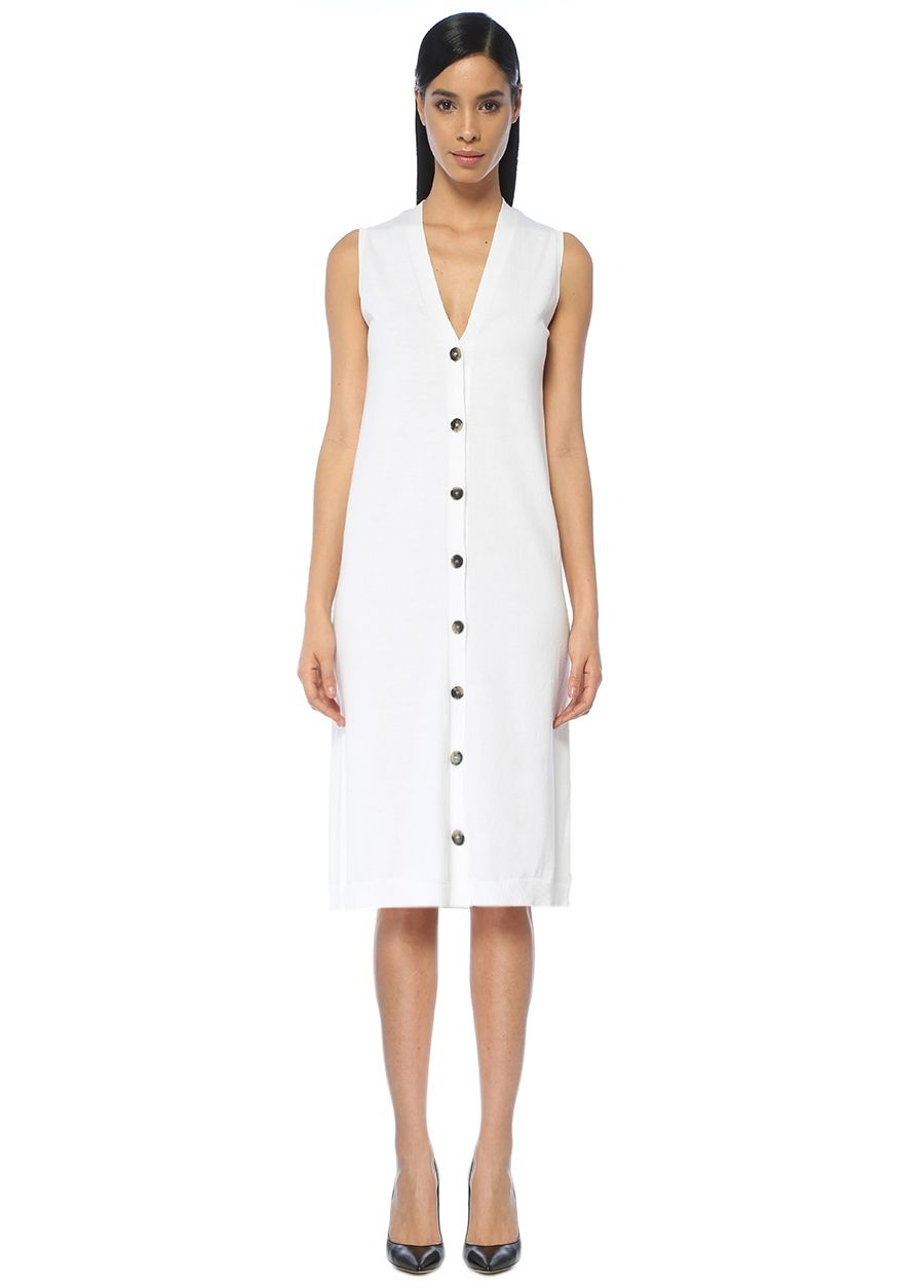 Beymen Collection Beyaz Triko Midi Elbise