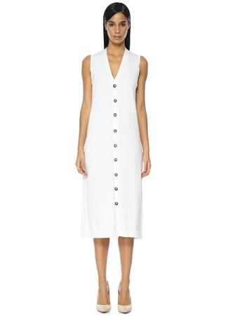 Beymen Collection Kadın Beyaz riko Midi Elbise Bej S