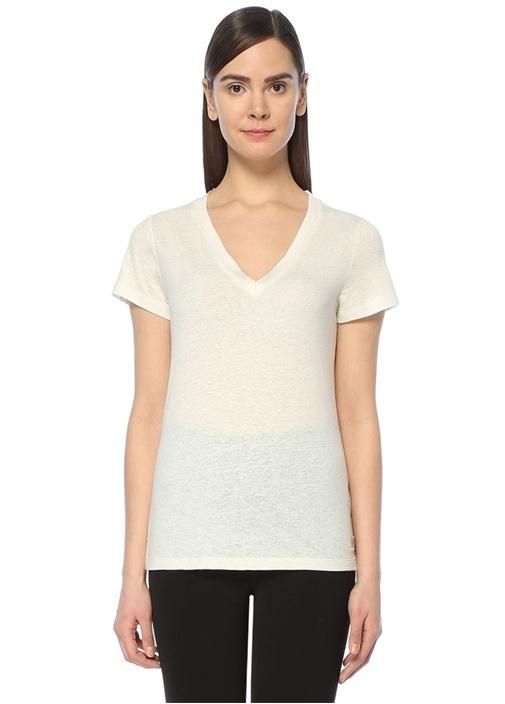 Bej V Yaka Basic Tshirt