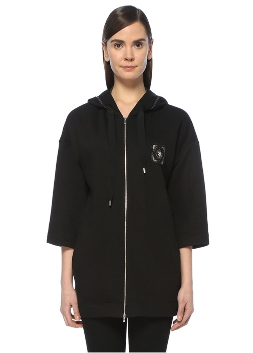 Siyah Gül Armalı Kapüşonlu Fermuarlı Sweatshirt