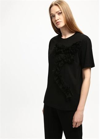 Siyah Bisiklet Yaka Fırfır Detaylı Tshirt