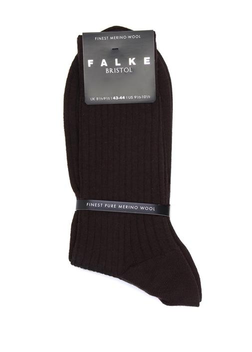 Kahverengi Ribli Erkek Yün Çorap