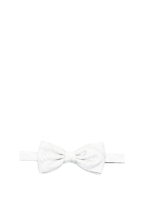 Beyaz Şal Desenli İpek Kravat
