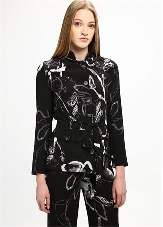 Siyah İpek Boncuk Aksesuarlı Ceket