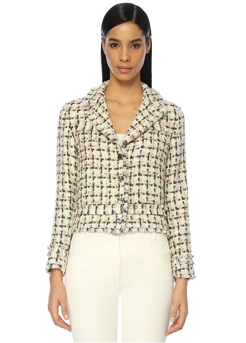 Kırlangıç Yaka Ekoseli Tweed Ceket
