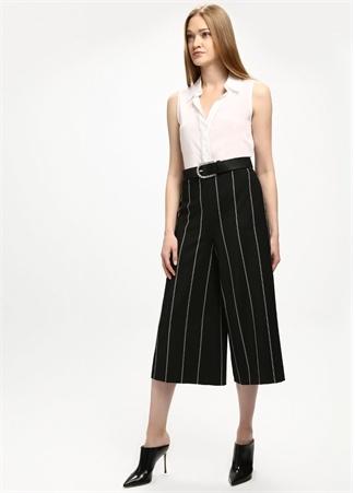 Siyah Çizgili Kısa Paça Pantolon