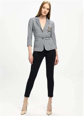 Lacivert Yüksek Bel Dar Paça Crop Pantolon