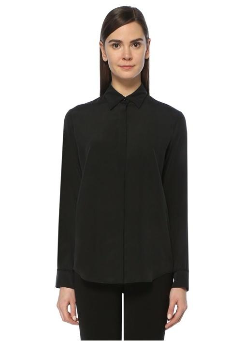Siyah Dantel Biyeli Klasik İpek Gömlek