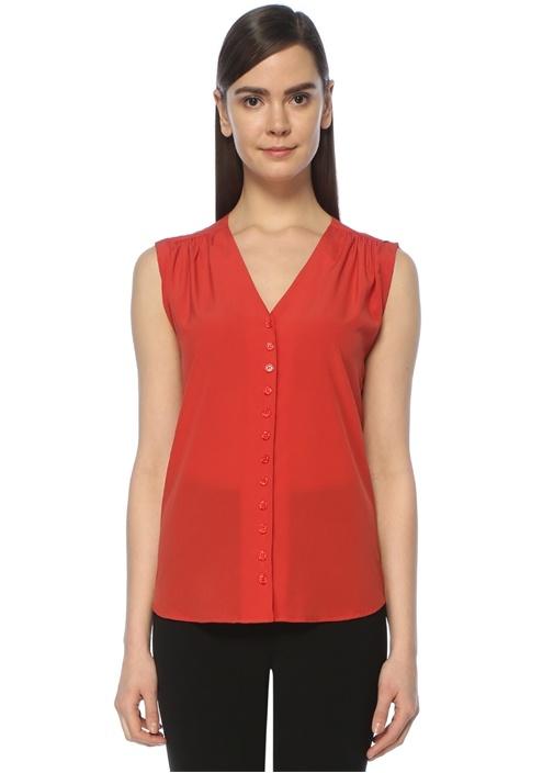 Kırmızı Düşük Kol V Yaka İpek Gömlek