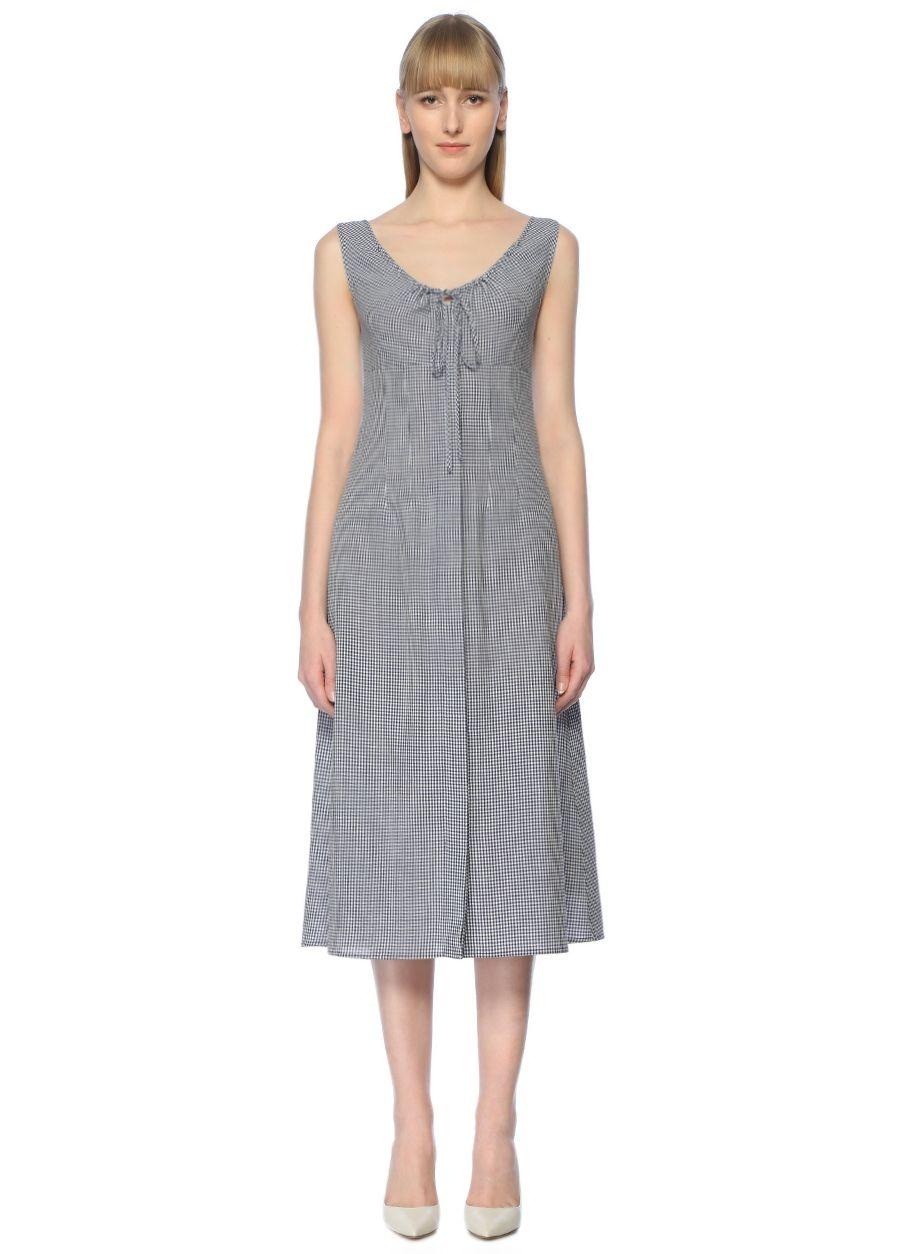 Beymen Collection Lacivert Pötikareli Midi Elbise