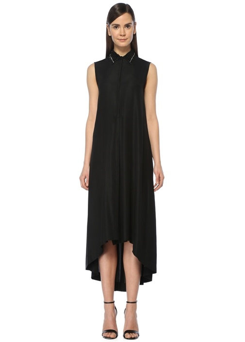 Siyah Yaka Boncuk İşlemeli İpek Midi Elbise